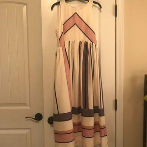 RePosh cream mid calf striped dress